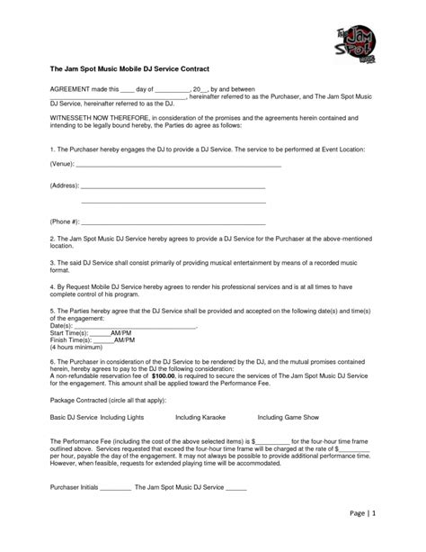 mobile dj contract template template dj contract template