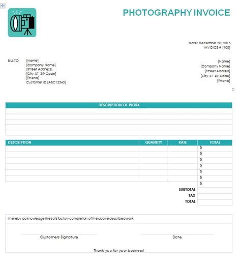 printable photography receipts invoice template independent contractor joy studio