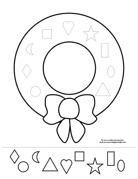 Christmas Wreath Cut Out Printables Wreath Coloring Page Shapes Worksheet