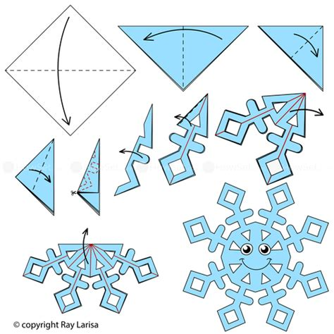 Origami Snowflake - snowflake animated origami how to