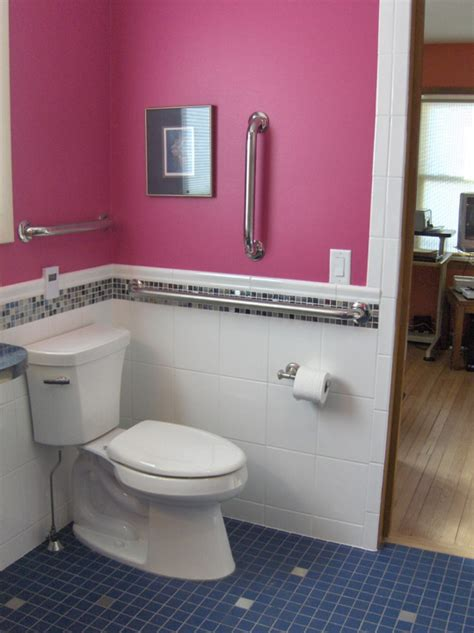 uniquely styled wheelchair accessible bathroom  lori