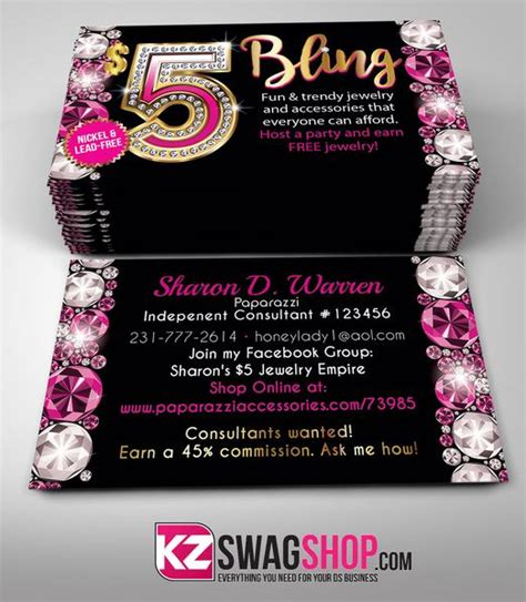 partylite business card template 5 bling jewelry business cards style 13 gemz kz swag shop