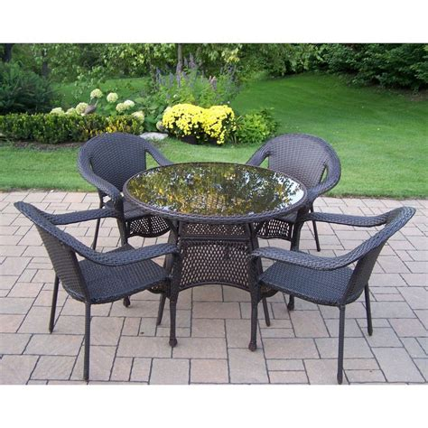 Resin Patio Furniture Sets Shop Oakland Living Elite Resin Wicker 5 Dining Patio Dining Set At Lowes