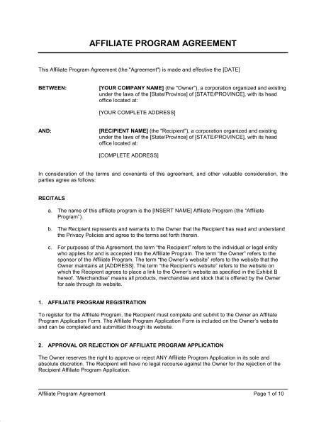 affiliate program agreement template sle form