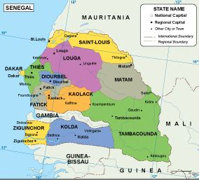 political map of senegal image gallery senegal maps