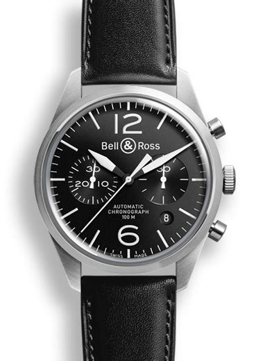 Bell Ross Vintage Aviation Black Steel Circle Brown Leather brv126 bl st sca bell ross br 126 original black chronograph 187 watchbase