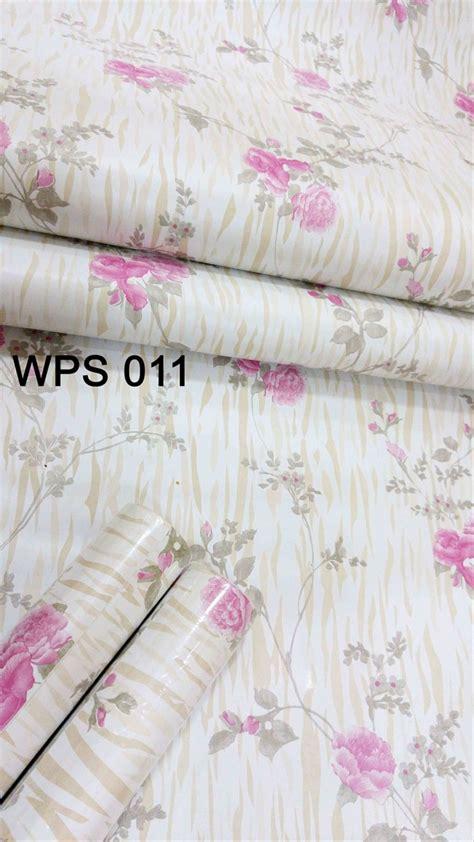 jual wps pink flower  golden wallpaper dinding