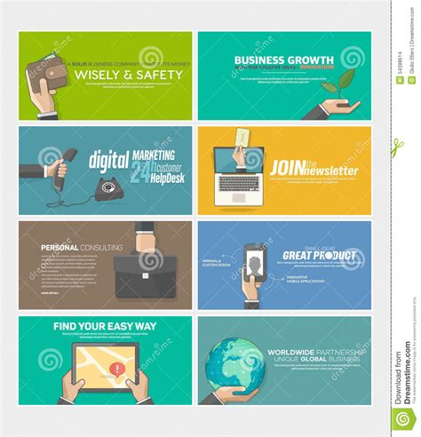 Set Of Flat Web Infographics Concept Banners For Business Company Website Print Templates Stock Printing Company Website Template