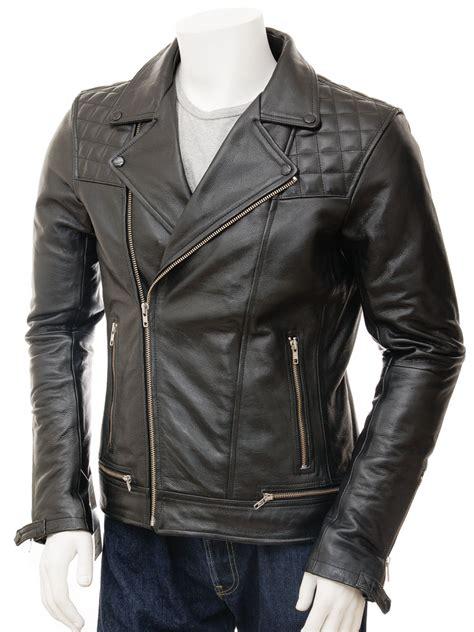 Leather Jaket Biker mens biker leather jacket in black berners caine