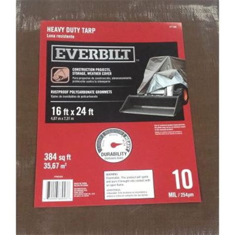 everbilt 16 ft x 24 ft heavy duty silver brown tarp