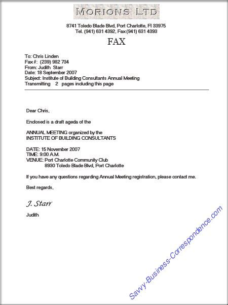 business letter format via fax dixie s guide to business correspondence