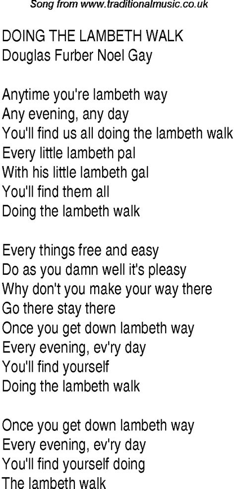 1940s top songs lyrics for doing the lambeth walk