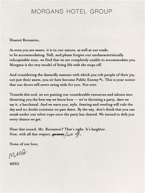 Invitation Letter Hotel Reservation Morgans Hotel Invites Guests To Take A Recess From The Recession