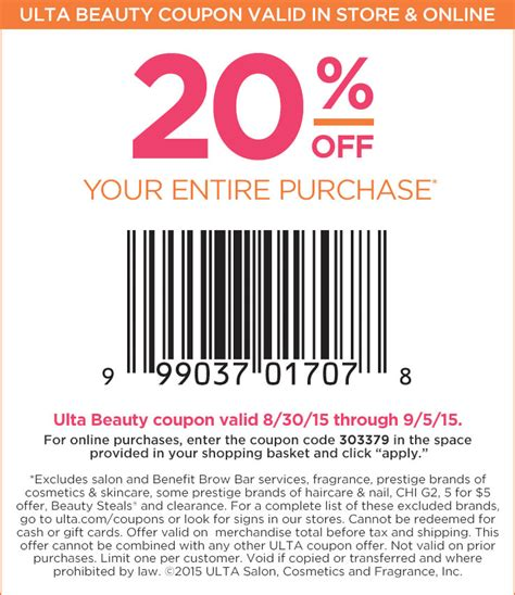 printable ulta coupons september 2015 ulta coupons 20 off everything at ulta or online via