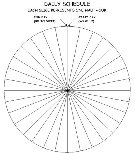 Blank Daily Schedule Wheel Each Section Is 1 2 Hr Loving Every Minute Pinterest Kids Time Management Pie Chart Template