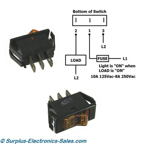 spst 10a 125vac illuminated rocker switch 1 59