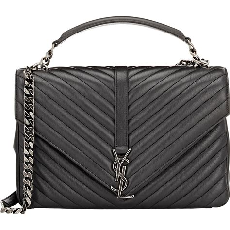 saint laurent large monogram leather shoulder bag  black