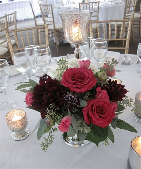 burgundy and raspberry flowers silver bowl centerpiece vermont wedding flowers floralartvt