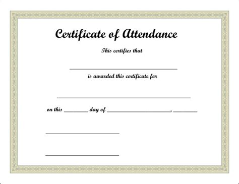 templates for certificates of attendance certificate of attendance template excel xlts