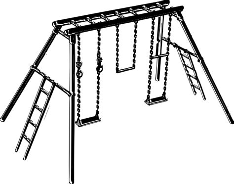swing black and white swing set clip art at clker com vector clip art online