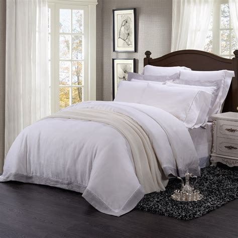 linen bedding sets washed 100 linen 9pcs bedding set with hemstitch lace