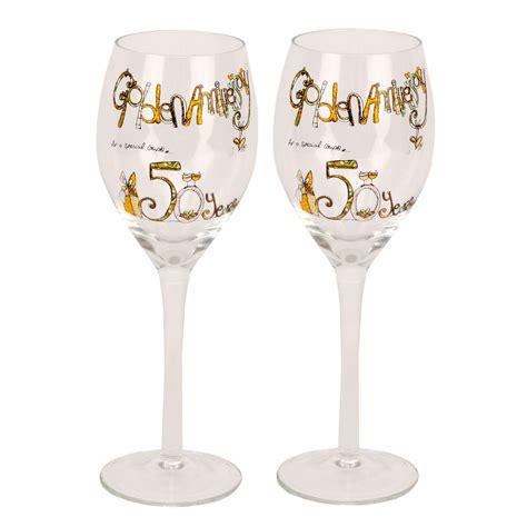 Decorative Wine Glasses by Tracey Decorative Wine Glasses 50th Gold