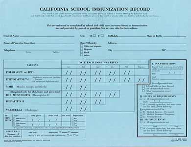 California Immunization Card Printable california school immunization record disease prevention