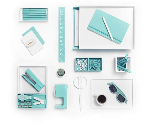 essential office desk supplies white with pops of aqua is day at the poppin