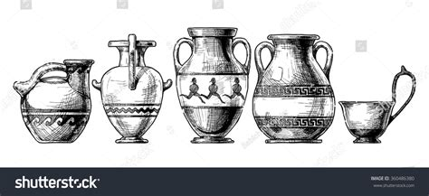 Ancient Vase Shapes by Vector Sketch Of Ancient Vases Set In Ink