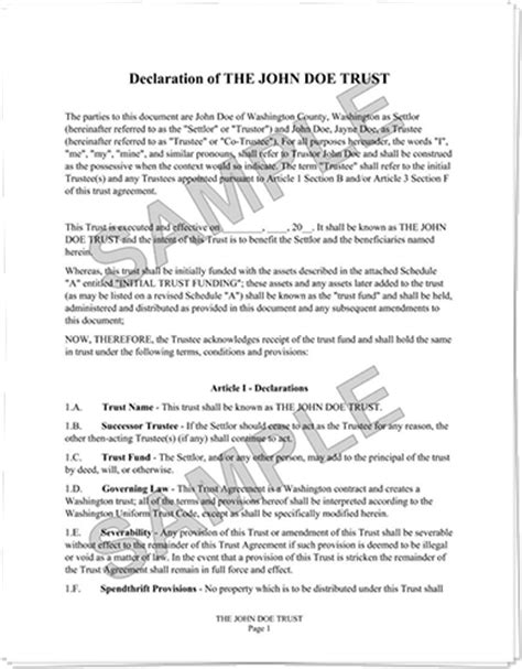 nfa trust template exle nfa trust document