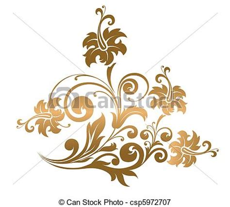vectors illustration of beautiful gold ornament with