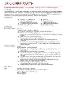 chemist cv exle for science livecareer