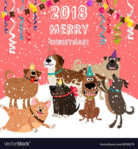 christmas card  dogs party royalty  vector