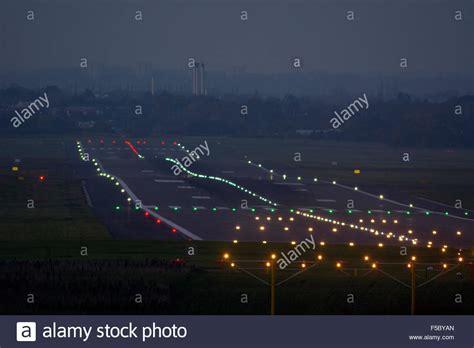 runway lights at runway lights at birmingham airport uk stock photo