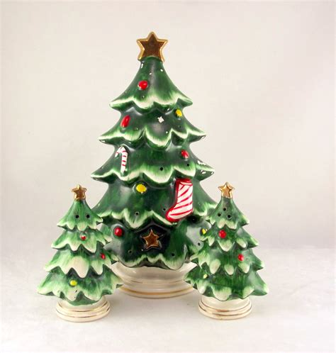 lefton ceramic christmas tree hostess set made in japan