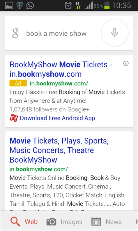 bookmyshow queries start using google s conversational search on mobile