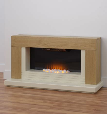 Electric Fireplace Suites Freestanding by Adam Oak Ivory Freestanding Electric Fireplace Suite