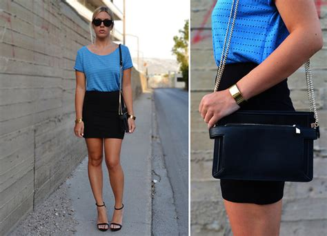 dena t h m blue top h m black skirt zara strappy