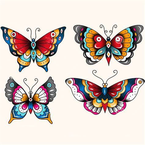 neo trad butterfly tattoo traditional butterflies tattoo design