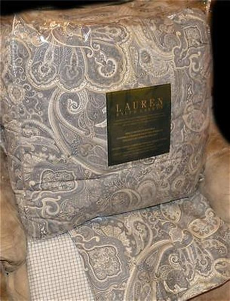 ralph coral gray black paisley king comforter set new 1st quality