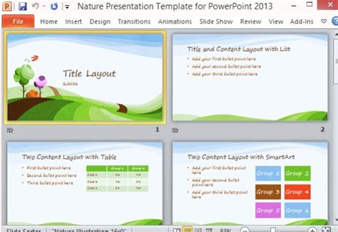 Landscape Lesson Powerpoint Nature Presentation Template For Powerpoint 2013