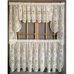 Kitchen Curtains And Valances Sterling Lace Kitchen Curtains With Tier Swags Valances Curtain Drapery