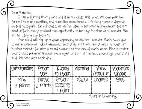 Parent Letter Explaining Clip Chart Spotted In Grade August 2013