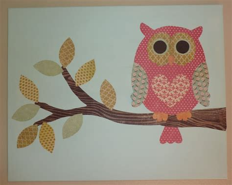 diy owl canvas made with scrapbook paper craft ideas