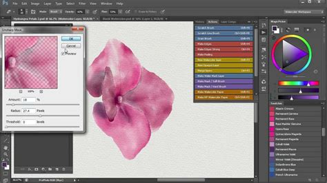 watercolor adobe tutorial 6 demo painting of hydrangea flower using photoshop