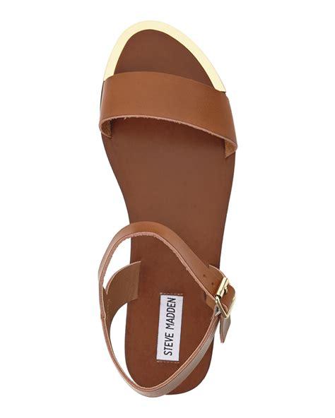 brown steve madden sandals steve madden cognac rozie sandals in brown lyst