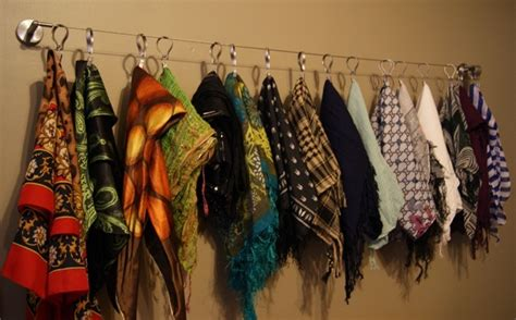 Scarf Drawer Organizer by Diy Scarf Organizer Curtain Wire W Wall Mounts