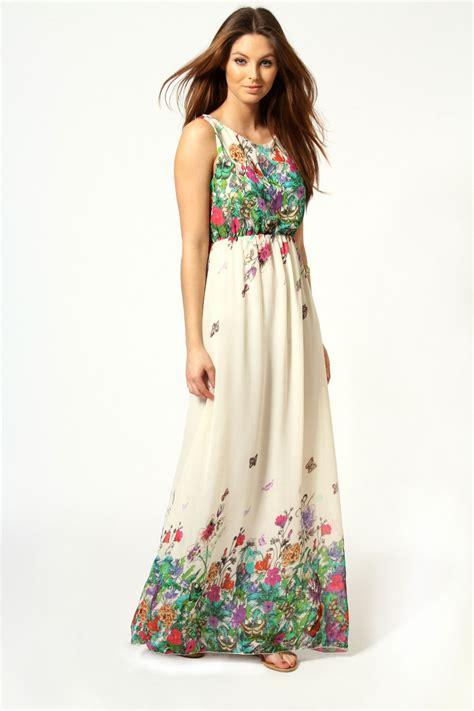 Buterfly Maxi boohoo amie floral butterfly print bow back maxi dress in multi ebay