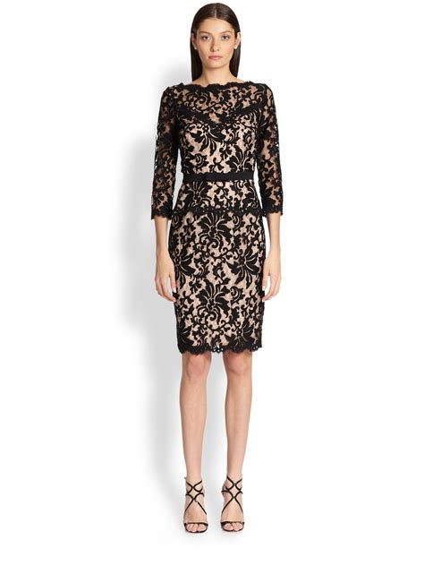 Lace Dress lyst tadashi shoji lace cocktail dress in black