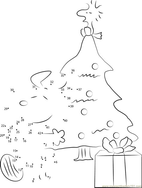 Snoopy Christmas Tree Dot To Dot Printable Worksheet Tree Dot To Dot Coloring Pages